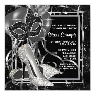 Black and White High Heels Birthday Party 13 Cm X 13 Cm Square Invitation Card