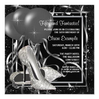 Black and White High Heels Womans Birthday Party 13 Cm X 13 Cm Square Invitation Card