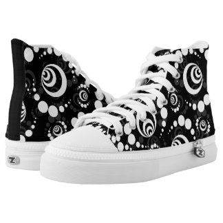 Black And White High Top Modern Retro Printed Shoes