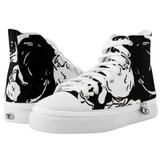 Black and White High Top Shoes Printed Shoes