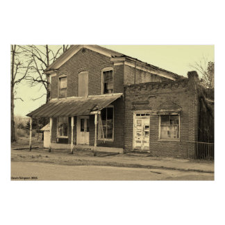 Black and White Historical Building Photograph Poster