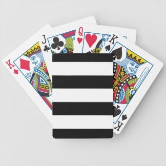 Black and White Horizontal Stripes Bicycle Playing Cards