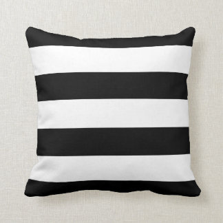 Black and White Horizontal Stripes Cushion