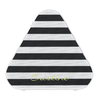 black and white horizontal stripes with name