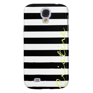 black and white horizontal stripes with name galaxy s4 case