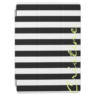 black and white horizontal stripes with name iPad air cover