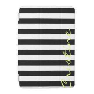 black and white horizontal stripes with name iPad mini cover