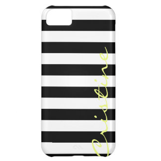 black and white horizontal stripes with name iPhone 5C case