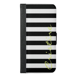 black and white horizontal stripes with name iPhone 6/6s plus wallet case