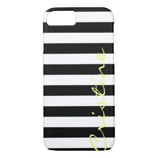 black and white horizontal stripes with name iPhone 8/7 case