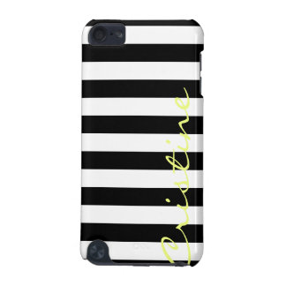 black and white horizontal stripes with name iPod touch (5th generation) cases