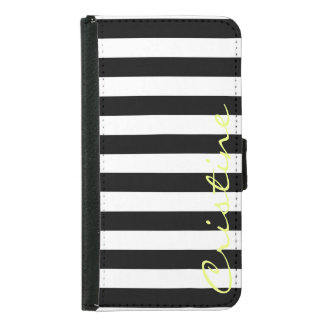 black and white horizontal stripes with name samsung galaxy s5 wallet case