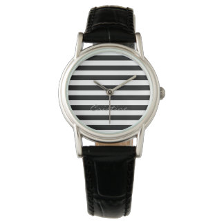 black and white horizontal stripes with name watch