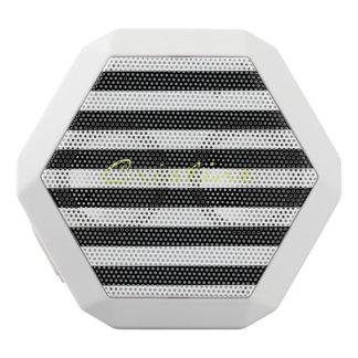 black and white horizontal stripes with name white bluetooth speaker