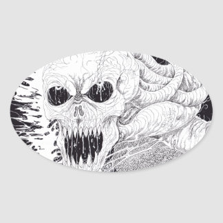 Black And White Horror Skull Art Oval Sticker