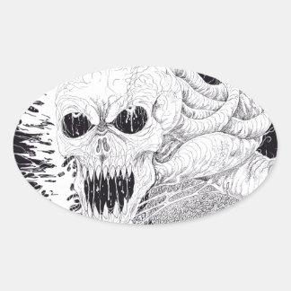 Black And White Horror Skull Art Oval Sticker