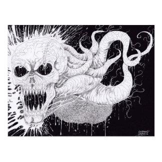 Black And White Horror Skull Art Postcard