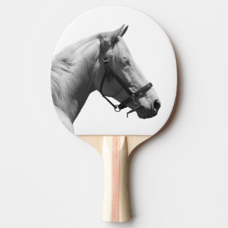 Black and white horse animal photo ping pong paddle