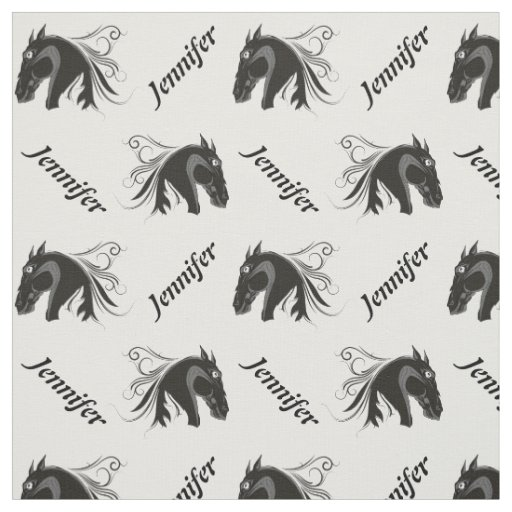 Black and white horse head and name personalised