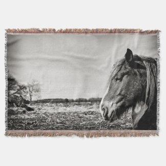 Black and White Horse Head Throw Blanket