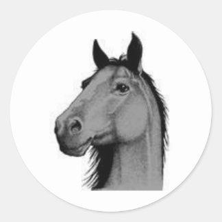 black and white horse round sticker