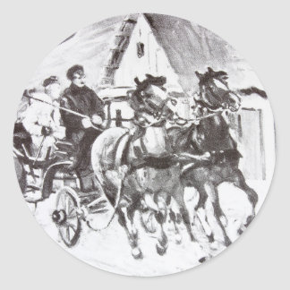 Black and White Horses and Carriage Stickers
