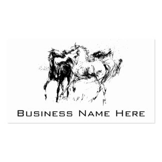 Black and White Horses Pack Of Standard Business Cards