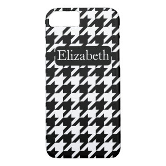 Black and White Houndstooth and Name iPhone 8/7 Case