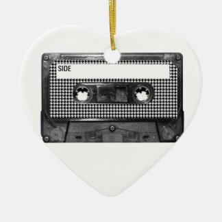 Black and White Houndstooth Cassette Ceramic Heart Decoration
