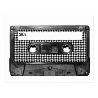 Black and White Houndstooth Cassette Postcard