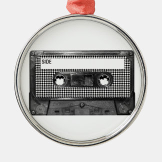 Black and White Houndstooth Cassette Silver-Colored Round Decoration