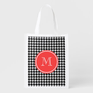 Black and White Houndstooth Coral Monogram