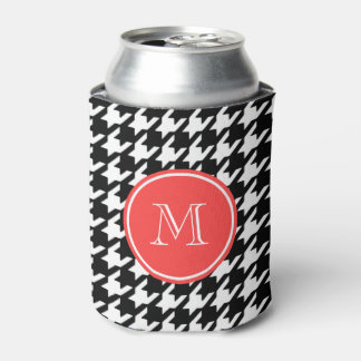 Black and White Houndstooth Coral Monogram Can Cooler