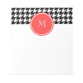 Black and White Houndstooth Coral Monogram Notepad