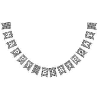 Black and White Houndstooth Happy Birthday Bunting
