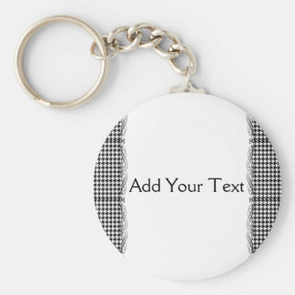 Black and White Houndstooth Manage this category Basic Round Button Key Ring