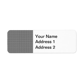 Black and White Houndstooth Pattern Return Address Label