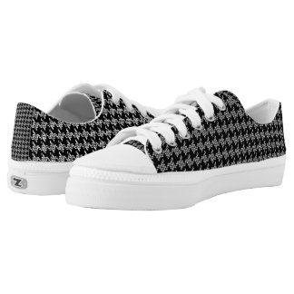 Black And White Houndstooth Pattern Printed Shoes