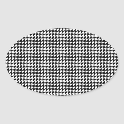 Black and White Houndstooth Pattern Oval Sticker