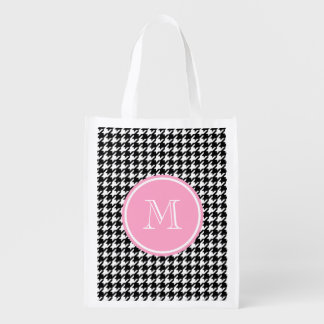 Black and White Houndstooth Pink Monogram