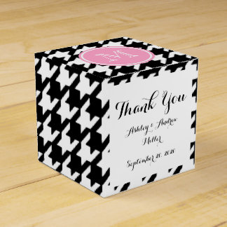 Black and White Houndstooth Pink Monogram Favour Box