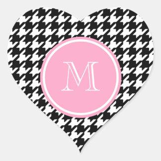Black and White Houndstooth Pink Monogram Heart Sticker