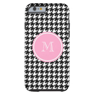 Black and White Houndstooth Pink Monogram Tough iPhone 6 Case