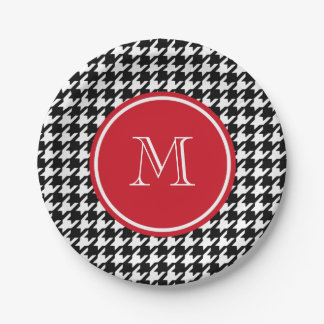 Black and White Houndstooth Red Monogram 7 Inch Paper Plate