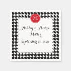 Black and White Houndstooth Red Monogram Disposable Serviette