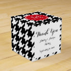 Black and White Houndstooth Red Monogram Favour Box