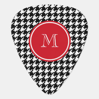 Black and White Houndstooth Red Monogram Guitar Pick