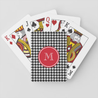 Black and White Houndstooth Red Monogram Poker Deck
