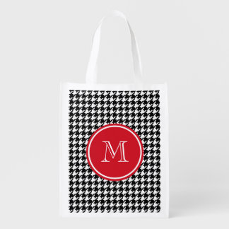 Black and White Houndstooth Red Monogram Reusable Grocery Bag