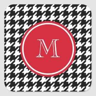 Black and White Houndstooth Red Monogram Square Stickers